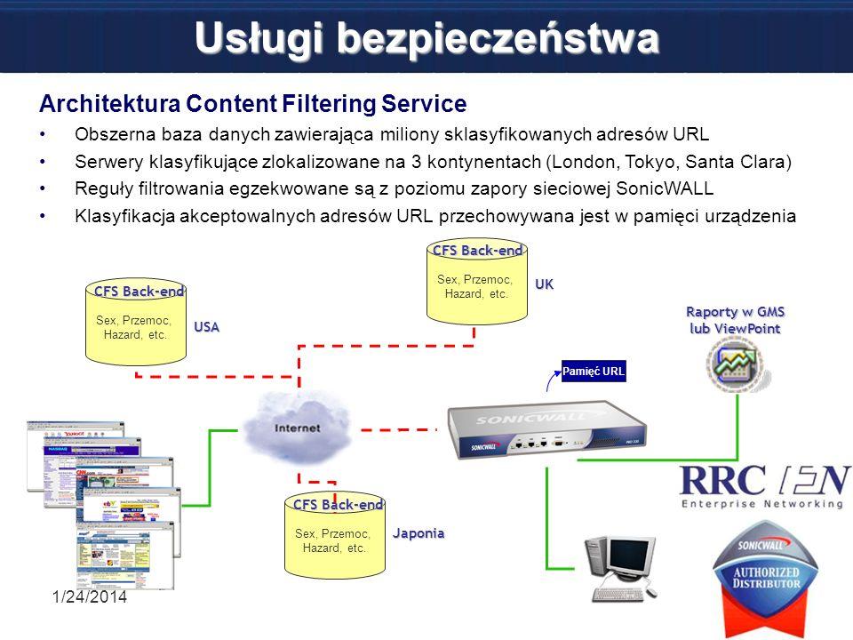 Usługi bezpieczeństwa 1/24/201450 Architektura Content Filtering Service Obszerna baza danych zawierająca miliony sklasyfikowanych adresów URL Serwery