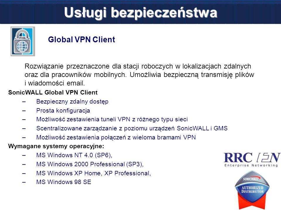Global VPN Client Rozwiązanie przeznaczone dla stacji roboczych w lokalizacjach zdalnych oraz dla pracowników mobilnych. Umożliwia bezpieczną transmis