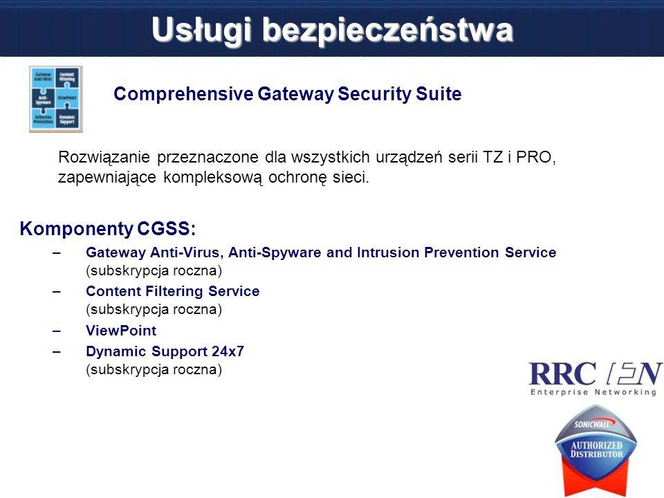 Comprehensive Gateway Security Suite Rozwiązanie przeznaczone dla wszystkich urządzeń serii TZ i PRO, zapewniające kompleksową ochronę sieci. Komponen
