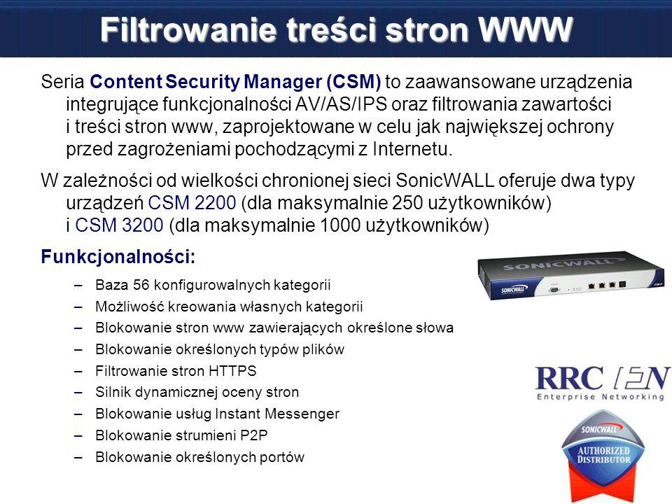 Filtrowanie treści stron WWW Seria Content Security Manager (CSM) to zaawansowane urządzenia integrujące funkcjonalności AV/AS/IPS oraz filtrowania za