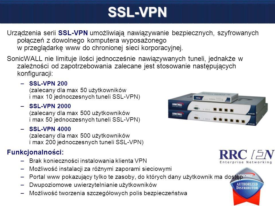 SSL-VPN Urządzenia serii SSL-VPN umożliwiają nawiązywanie bezpiecznych, szyfrowanych połączeń z dowolnego komputera wyposażonego w przeglądarkę www do