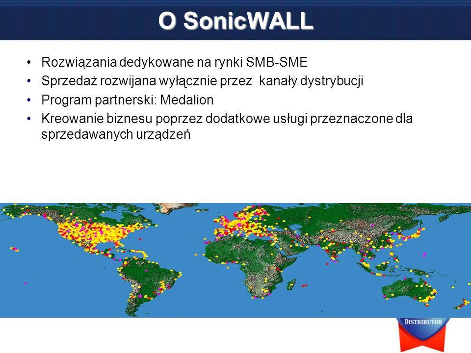 Nr 1 w rankingu Unified Threat Management według IDC, rok 2006 Roczny wzrost w Europie pomiędzy 30-40% Przejęcia w Q4/Q1 2007 –Enkoo – rozwiązania SSL-VPN –Lasso Logic – rozwiązania CDP –MailFrontier – rozwiązania ochrony poczty –Aventail – Rozwiązania SSL-VPN O SonicWALL