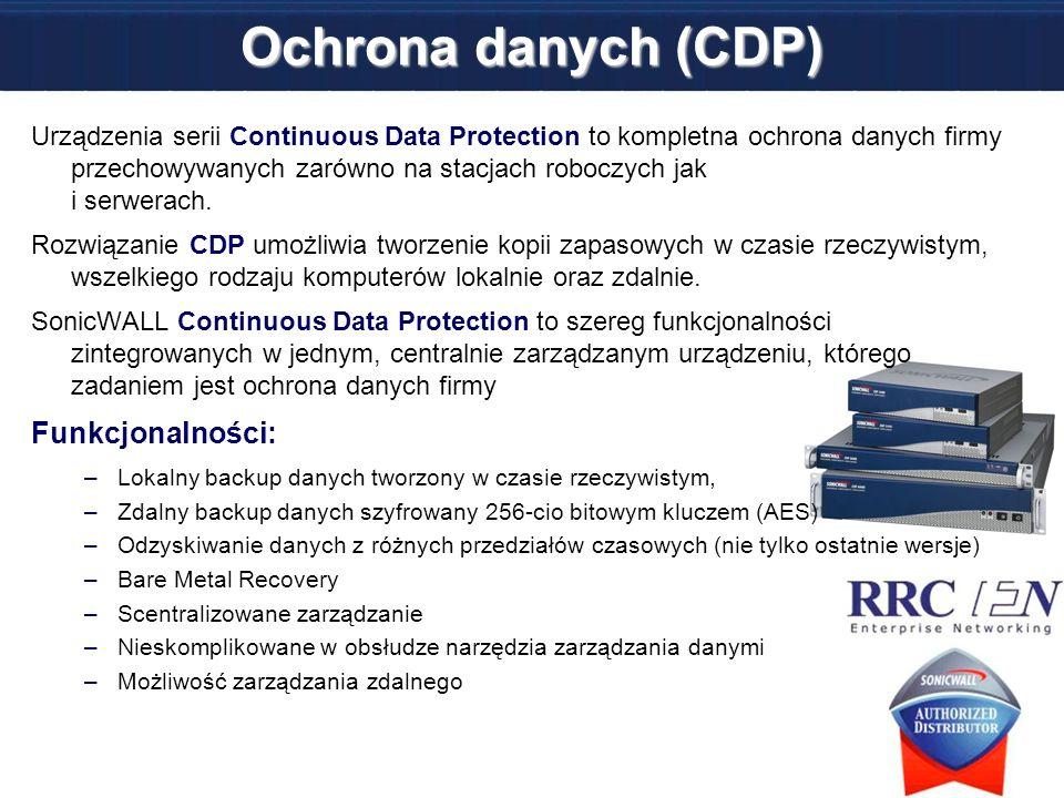 Ochrona danych (CDP) Urządzenia serii Continuous Data Protection to kompletna ochrona danych firmy przechowywanych zarówno na stacjach roboczych jak i