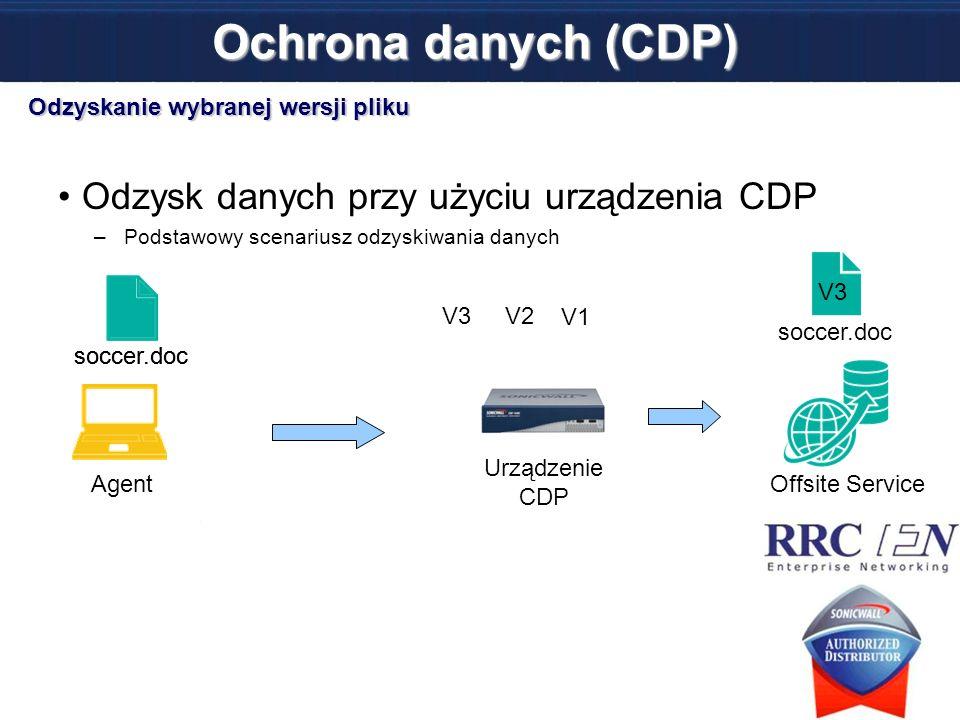 soccer.doc Odzysk danych przy użyciu urządzenia CDP –Podstawowy scenariusz odzyskiwania danych Ochrona danych (CDP) Urządzenie CDP Offsite ServiceAgen