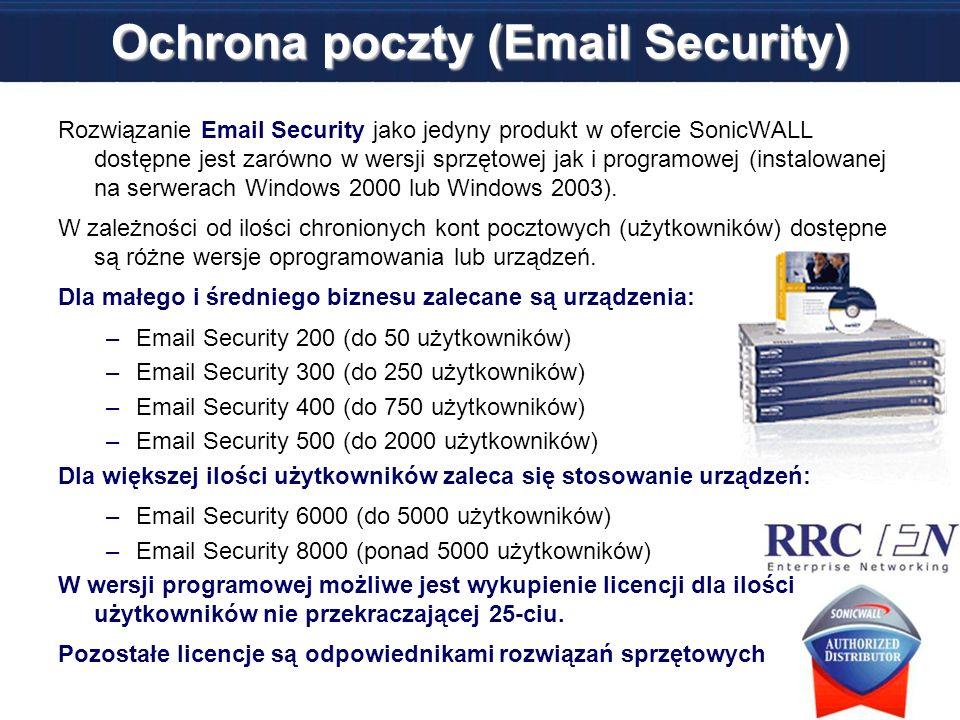 Ochrona poczty (Email Security) Rozwiązanie Email Security jako jedyny produkt w ofercie SonicWALL dostępne jest zarówno w wersji sprzętowej jak i pro