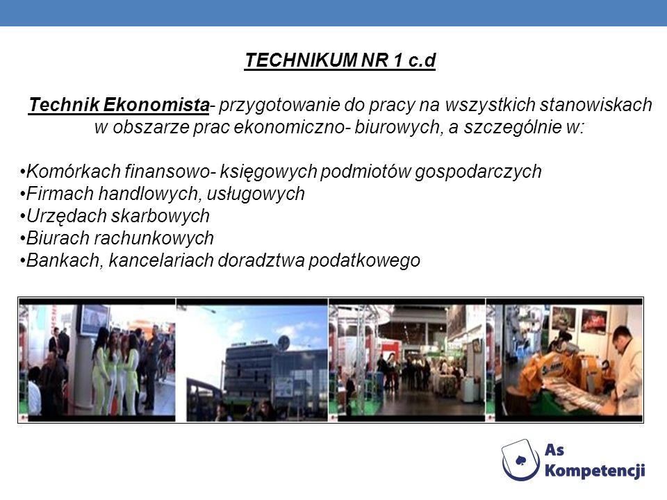 TECHNIKUM NR 1 c.d Technik Ekonomista- przygotowanie do pracy na wszystkich stanowiskach w obszarze prac ekonomiczno- biurowych, a szczególnie w: Komó