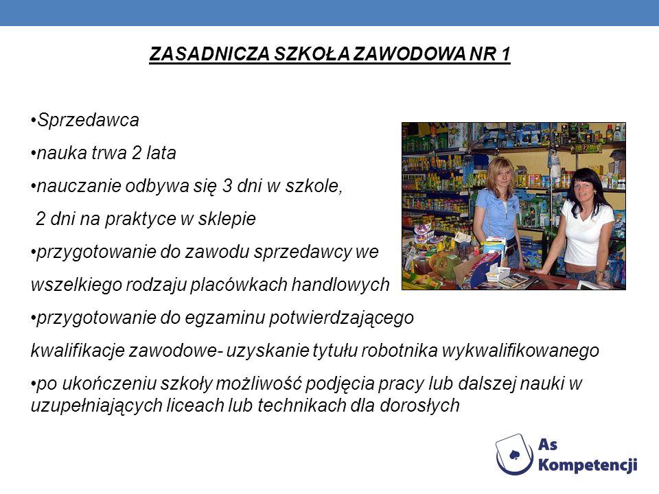 ZASADNICZA SZKOŁA ZAWODOWA NR 1 Sprzedawca nauka trwa 2 lata nauczanie odbywa się 3 dni w szkole, 2 dni na praktyce w sklepie przygotowanie do zawodu