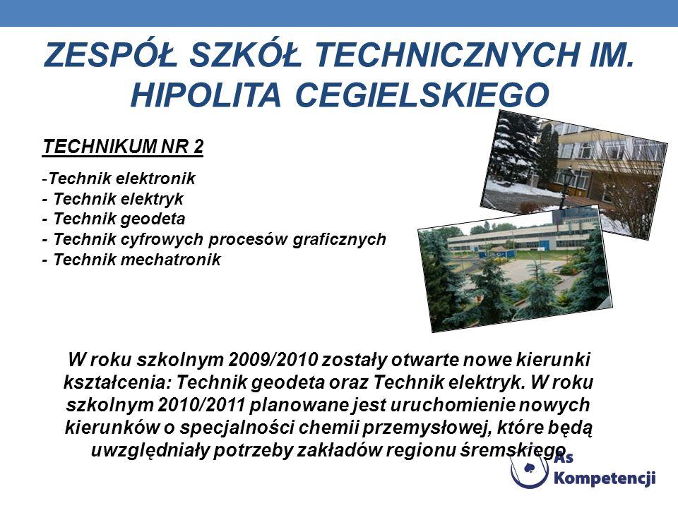 ZESPÓŁ SZKÓŁ TECHNICZNYCH IM. HIPOLITA CEGIELSKIEGO TECHNIKUM NR 2 -Technik elektronik - Technik elektryk - Technik geodeta - Technik cyfrowych proces