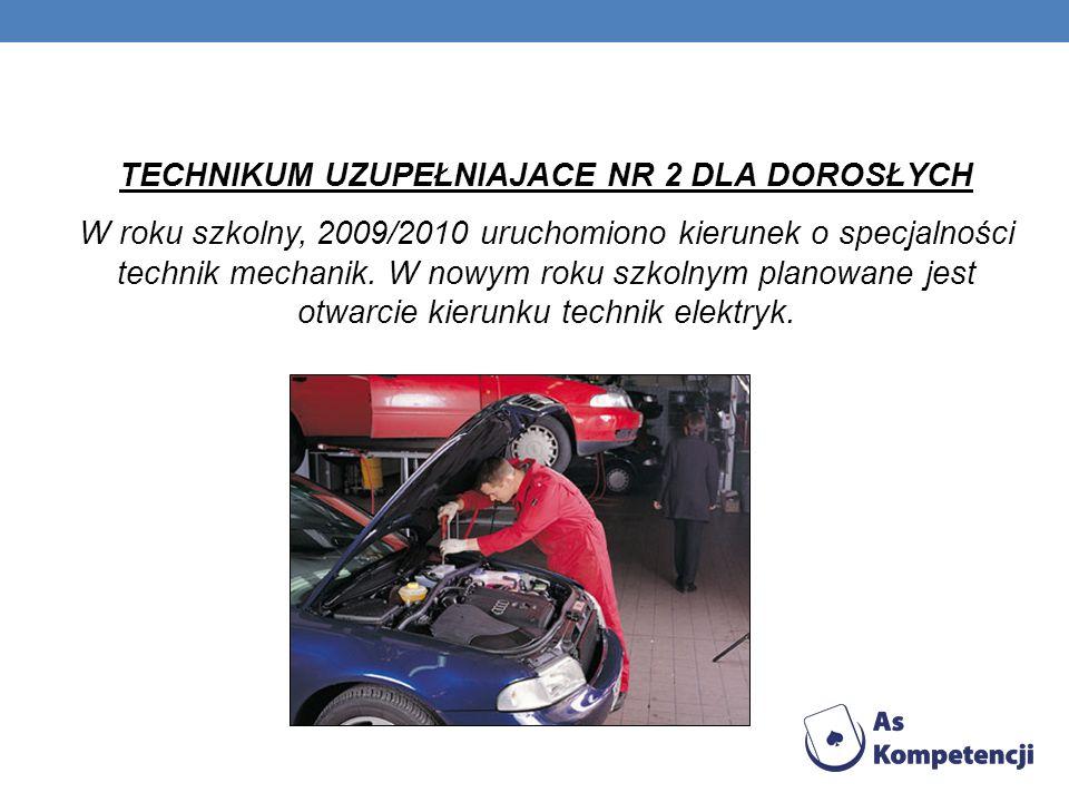TECHNIKUM UZUPEŁNIAJACE NR 2 DLA DOROSŁYCH W roku szkolny, 2009/2010 uruchomiono kierunek o specjalności technik mechanik. W nowym roku szkolnym plano