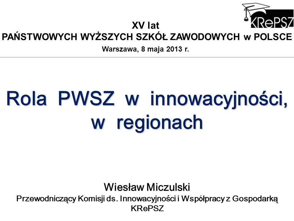 XV lat PAŃSTWOWYCH WYŻSZYCH SZKÓŁ ZAWODOWYCH w POLSCE Warszawa, 8 maja 2013 r. Rola PWSZ w innowacyjności, w regionach Wiesław Miczulski Przewodnicząc