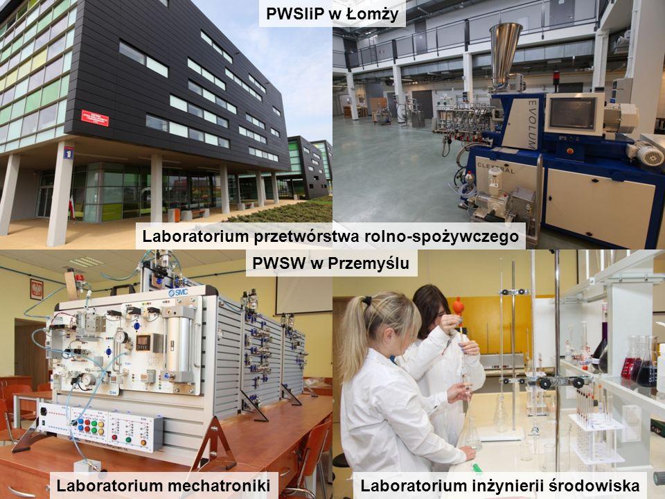 Laboratorium mechatronikiLaboratorium inżynierii środowiska PWSW w Przemyślu PWSIiP w Łomży Laboratorium przetwórstwa rolno-spożywczego