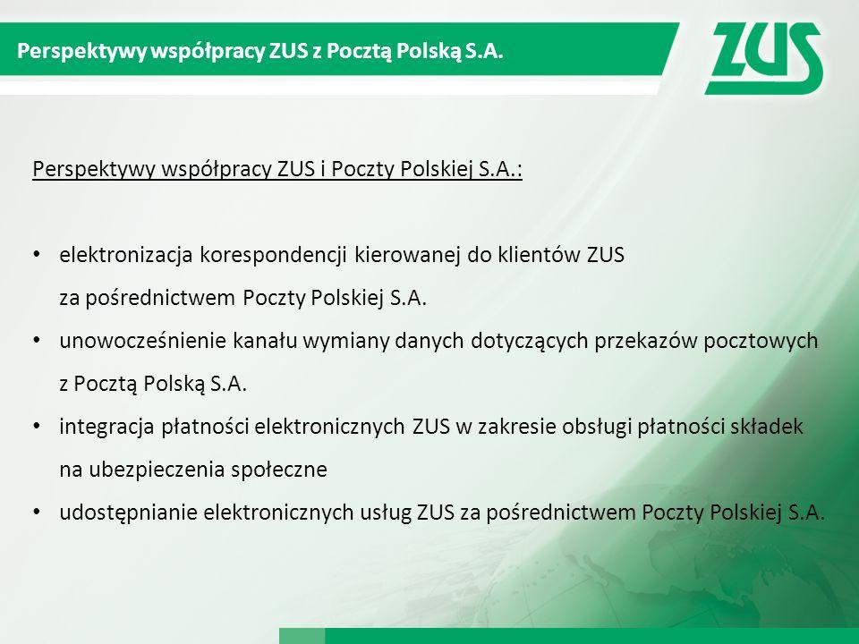 Perspektywy współpracy ZUS z Pocztą Polską S.A. Perspektywy współpracy ZUS i Poczty Polskiej S.A.: elektronizacja korespondencji kierowanej do klientó