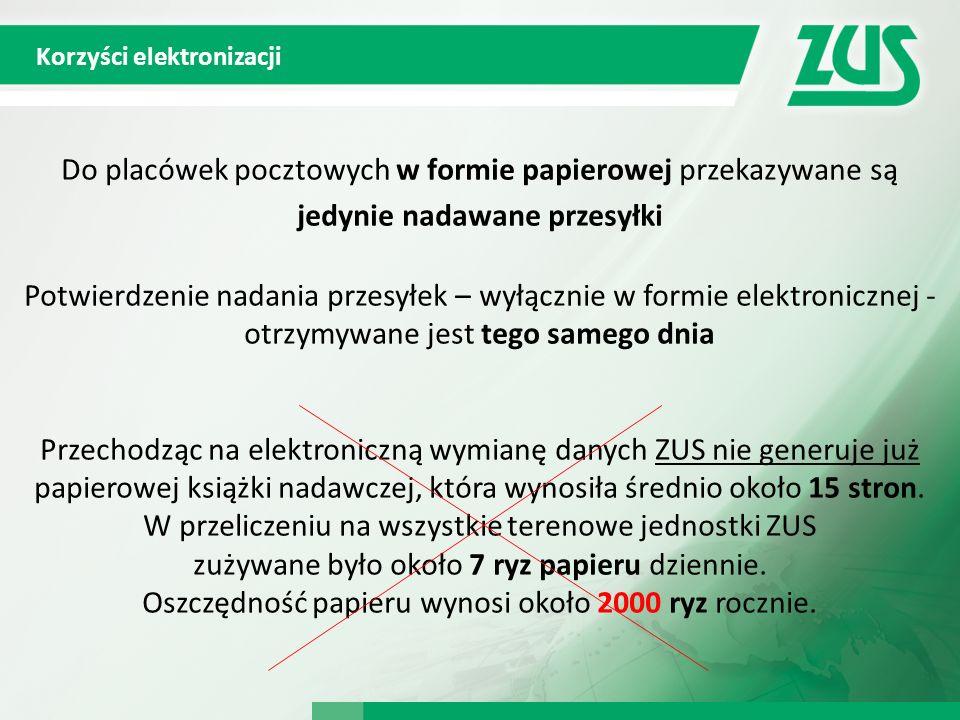 Korzyści elektronizacji Do placówek pocztowych w formie papierowej przekazywane są jedynie nadawane przesyłki Potwierdzenie nadania przesyłek – wyłącz