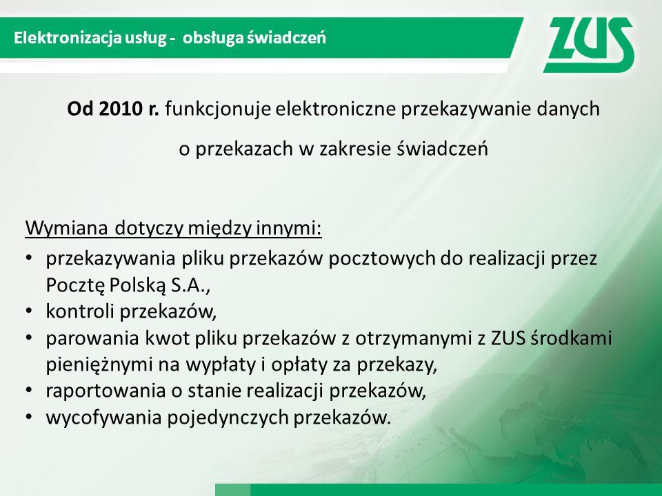 Od 2010 r. funkcjonuje elektroniczne przekazywanie danych o przekazach w zakresie świadczeń Wymiana dotyczy między innymi: przekazywania pliku przekaz