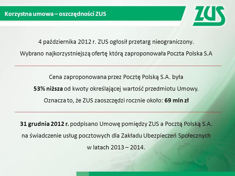 Korzystna umowa – oszczędności ZUS 4 października 2012 r. ZUS ogłosił przetarg nieograniczony. Wybrano najkorzystniejszą ofertę którą zaproponowała Po