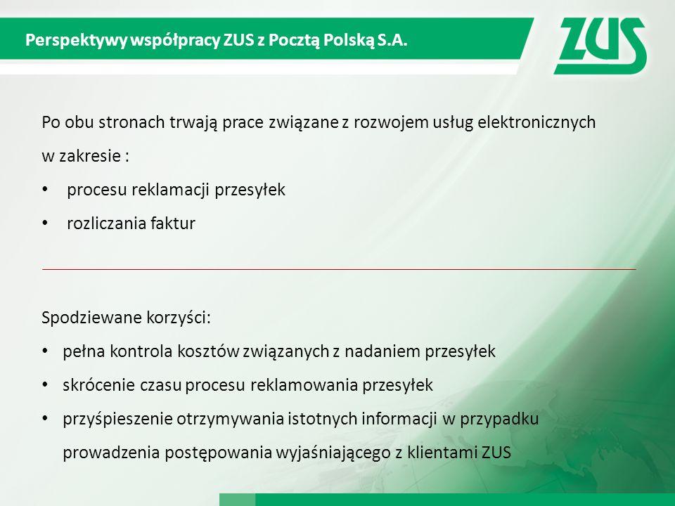 Perspektywy współpracy ZUS z Pocztą Polską S.A. Po obu stronach trwają prace związane z rozwojem usług elektronicznych w zakresie : procesu reklamacji