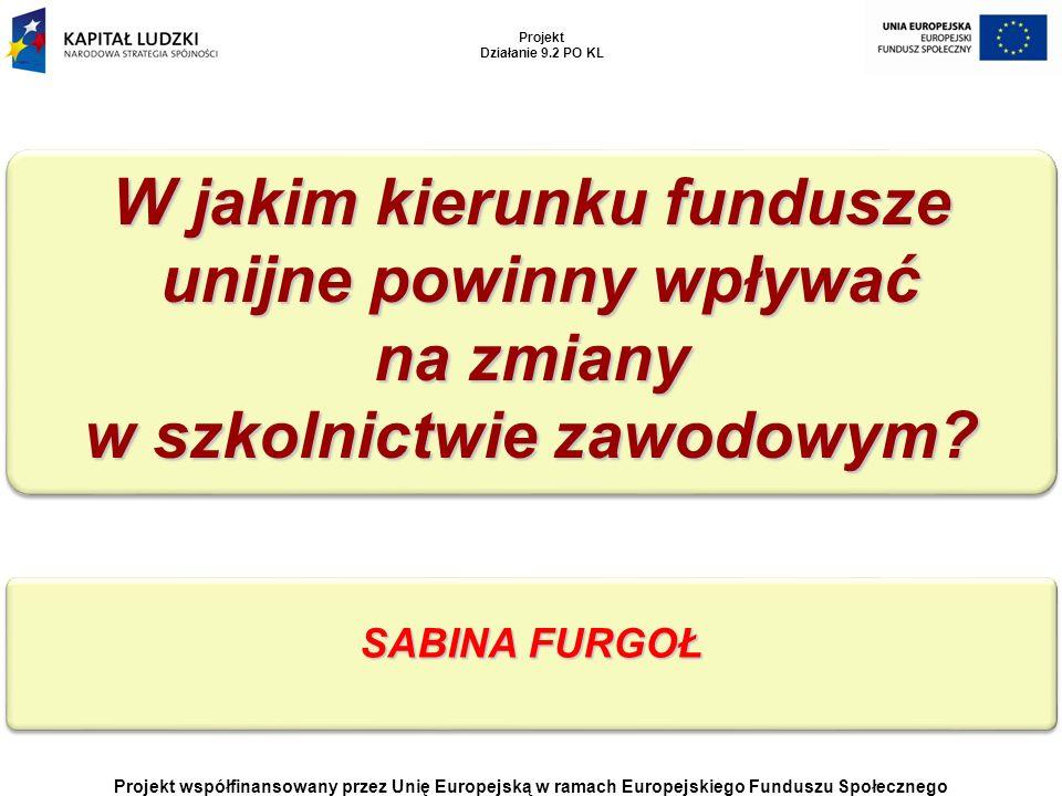 Projekt współfinansowany przez Unię Europejską w ramach Europejskiego Funduszu Społecznego Projekt Działanie 9.2 PO KL SABINA FURGOŁ W jakim kierunku