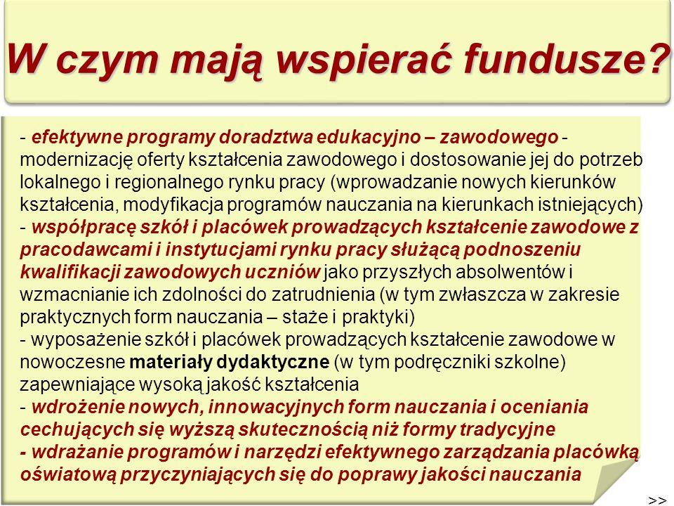 >> W czym mają wspierać fundusze? - efektywne programy doradztwa edukacyjno – zawodowego - modernizację oferty kształcenia zawodowego i dostosowanie j