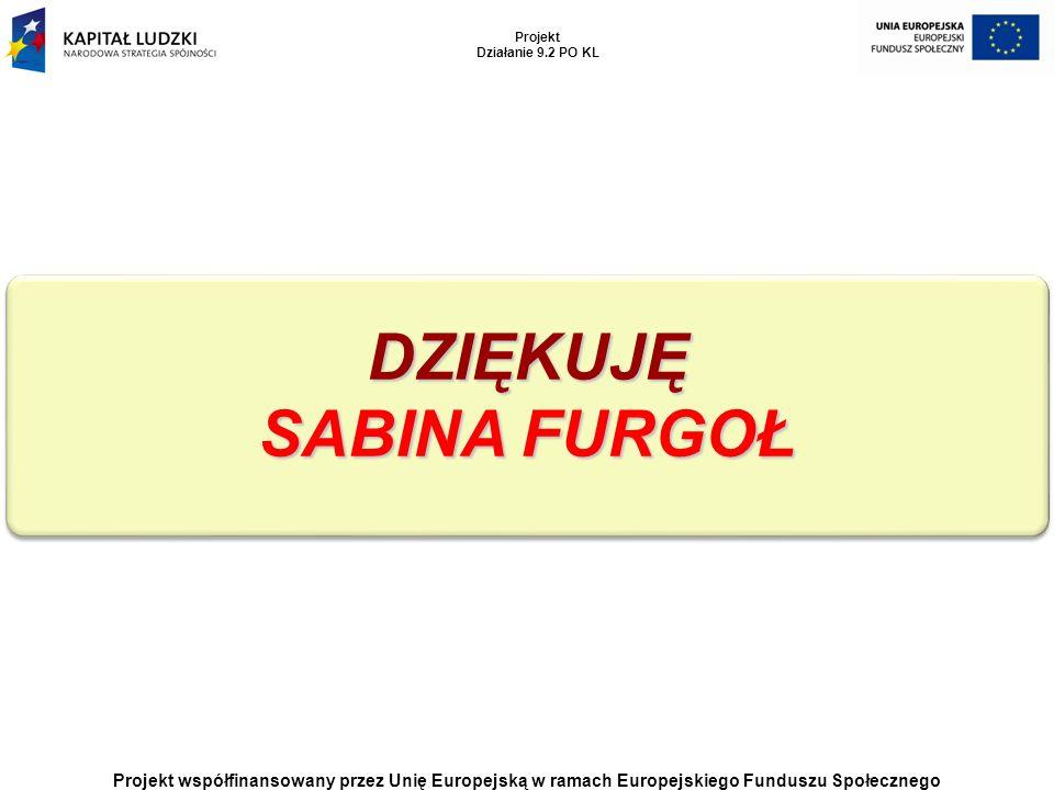 Projekt współfinansowany przez Unię Europejską w ramach Europejskiego Funduszu Społecznego Projekt Działanie 9.2 PO KL DZIĘKUJĘ SABINA FURGOŁ