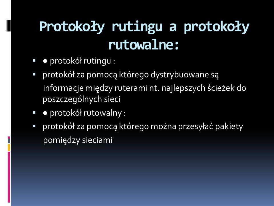 Protokoły rutingu a protokoły rutowalne: protokół rutingu : protokół za pomocą którego dystrybuowane są informacje między ruterami nt. najlepszych ści