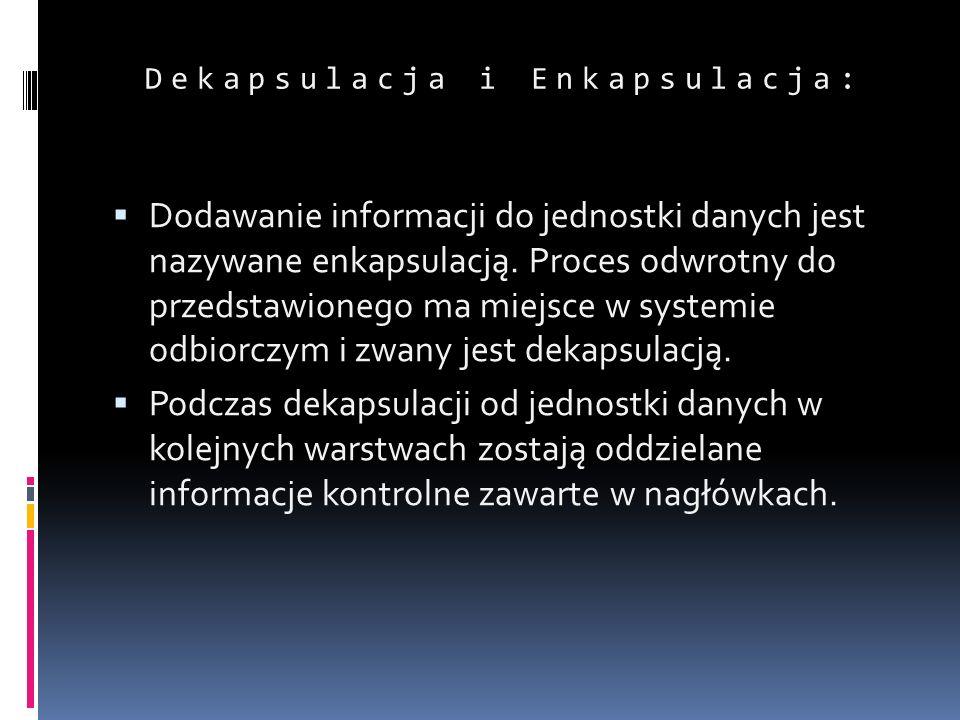 Dekapsulacja i Enkapsulacja: Dodawanie informacji do jednostki danych jest nazywane enkapsulacją. Proces odwrotny do przedstawionego ma miejsce w syst