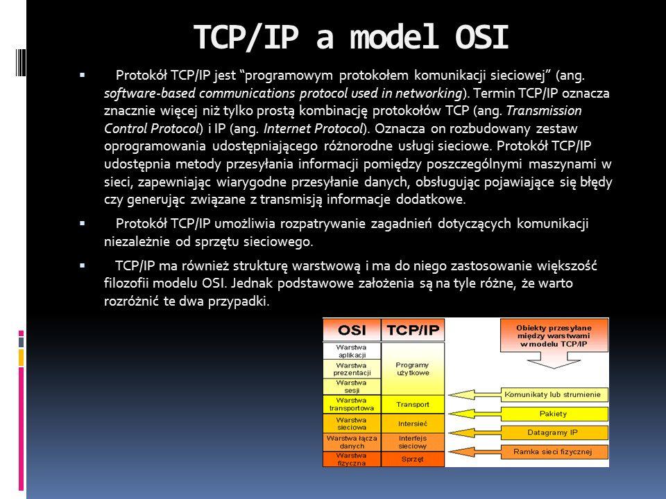 TCP/IP a model OSI Protokół TCP/IP jest programowym protokołem komunikacji sieciowej (ang. software-based communications protocol used in networking).