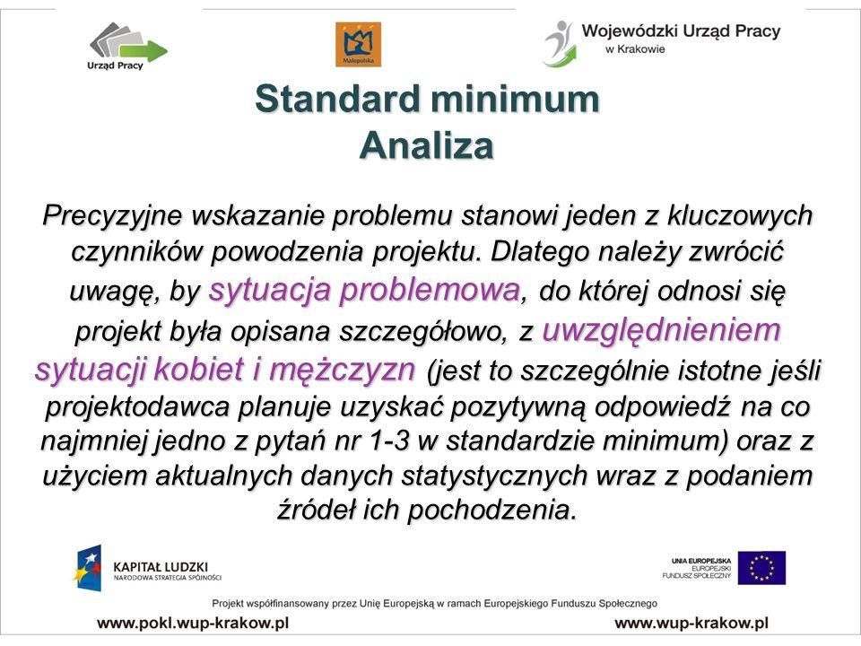 Standard minimum Analiza Precyzyjne wskazanie problemu stanowi jeden z kluczowych czynników powodzenia projektu.