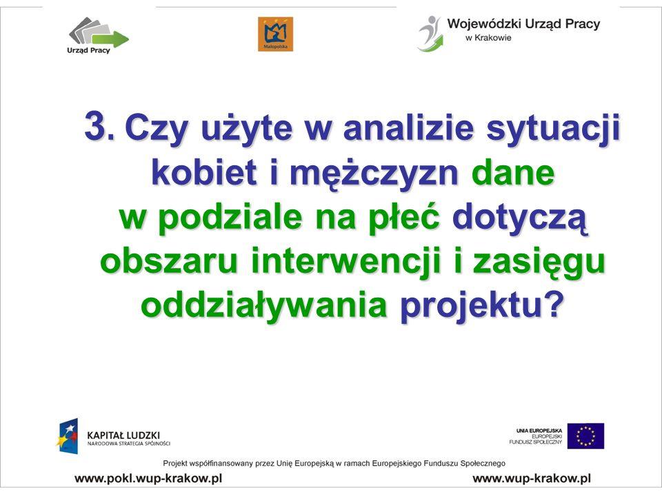 3. Czy użyte w analizie sytuacji kobiet i mężczyzn dane w podziale na płeć dotyczą obszaru interwencji i zasięgu oddziaływania projektu?