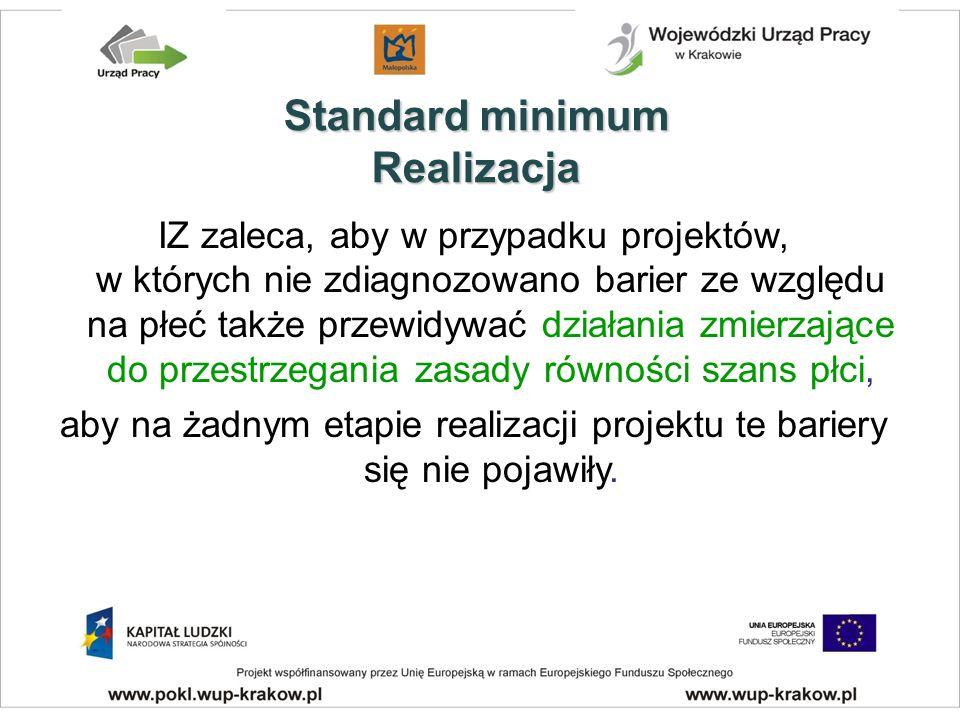 IZ zaleca, aby w przypadku projektów, w których nie zdiagnozowano barier ze względu na płeć także przewidywać działania zmierzające do przestrzegania zasady równości szans płci, aby na żadnym etapie realizacji projektu te bariery się nie pojawiły.