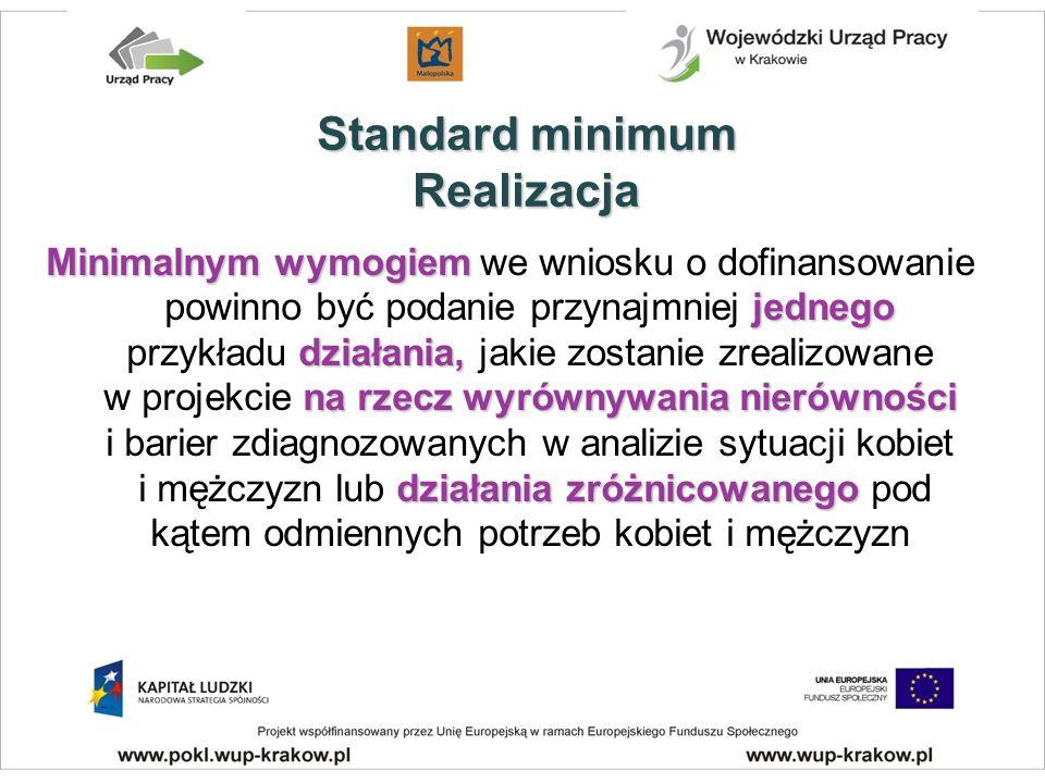 Minimalnymwymogiem jednego działania, narzeczwyrównywanianierówności działania zróżnicowanego Minimalnym wymogiem we wniosku o dofinansowanie powinno być podanie przynajmniej jednego przykładu działania, jakie zostanie zrealizowane w projekcie na rzecz wyrównywania nierówności i barier zdiagnozowanych w analizie sytuacji kobiet i mężczyzn lub działania zróżnicowanego pod kątem odmiennych potrzeb kobiet i mężczyzn Standard minimum Realizacja