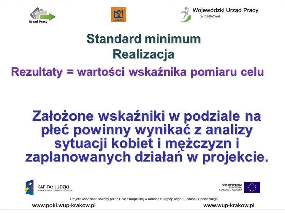 Rezultaty = wartości wskaźnika pomiaru celu Założone wskaźniki w podziale na płeć powinny wynikać z analizy sytuacji kobiet i mężczyzn i zaplanowanych działań w projekcie.
