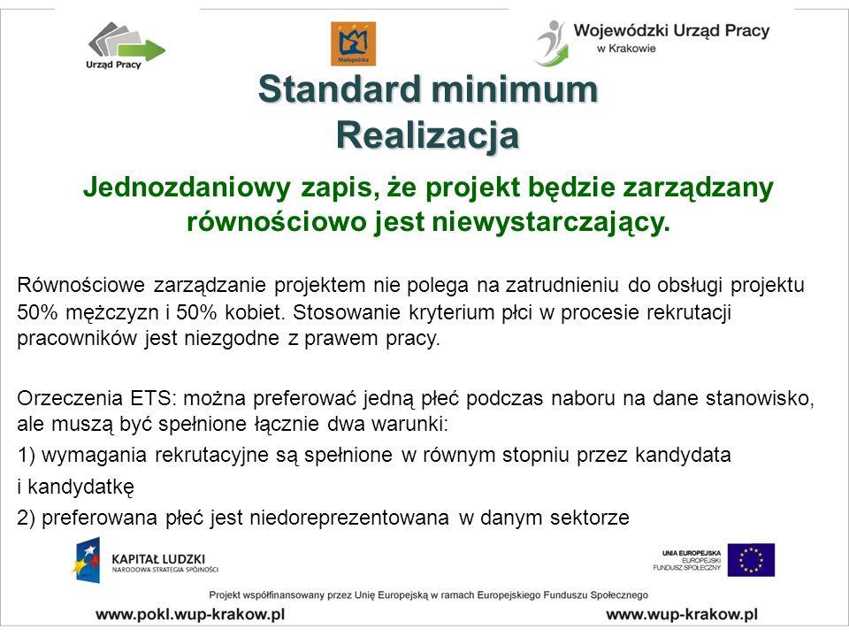 Standard minimum Realizacja Jednozdaniowy zapis, że projekt będzie zarządzany równościowo jest niewystarczający.