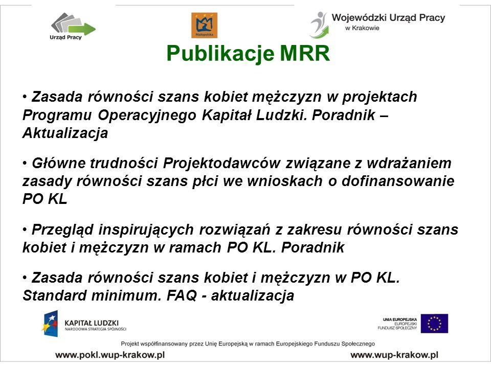 Publikacje MRR Zasada równości szans kobiet mężczyzn w projektach Programu Operacyjnego Kapitał Ludzki.