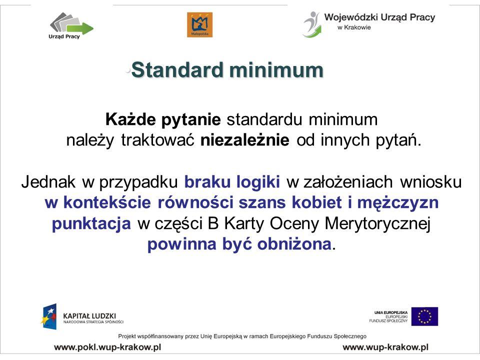 Każde pytanie standardu minimum należy traktować niezależnie od innych pytań.