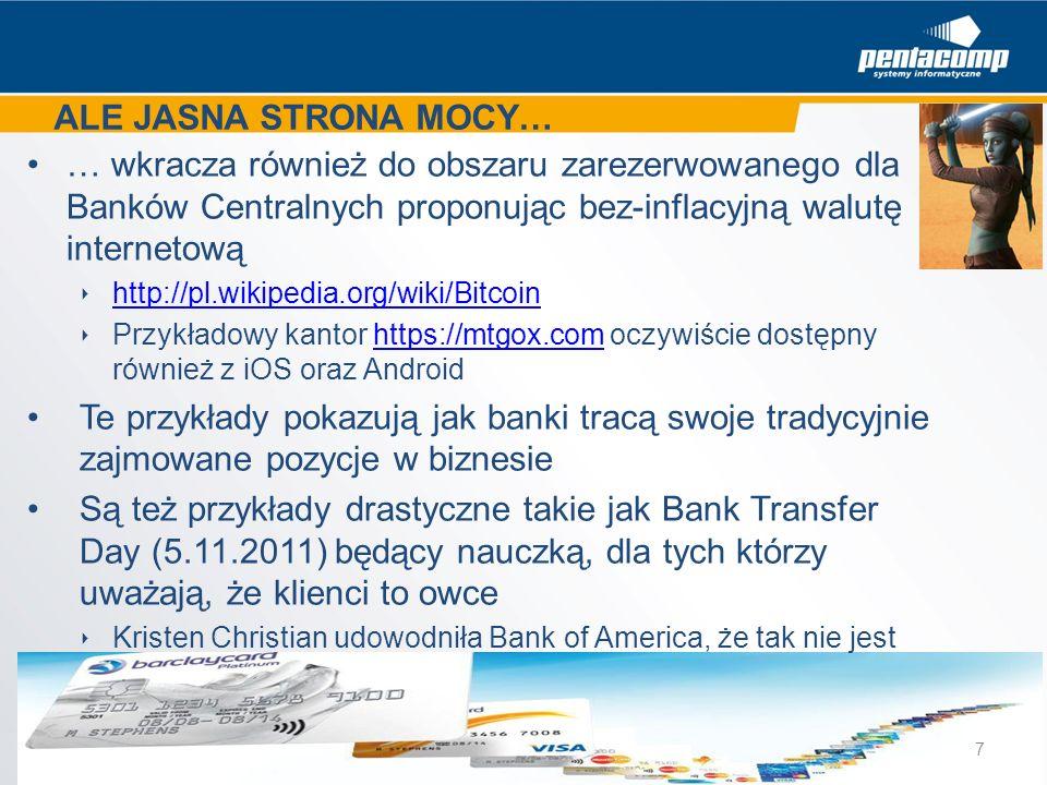 ALE JASNA STRONA MOCY: Brett King używając pojęcia Collective Intelligence uzasadnia wykonalność usług finansowych poprzez mechanizmy Web 2.0 www.banking4tomorrow.com/bank-2-0 W Polsce jako jedni z pierwszych zareagowali Poznaniacy proponując: walutomat.plwalutomat.pl Dzięki inicjatywom takim jak kokos.pl internauci zaczęli sobie nawzajem pożyczać prnews.pl/analizy/130-mln-zl-pozyczyli-sobie-internauci-w-4-lata- 68490.html prnews.pl/analizy/130-mln-zl-pozyczyli-sobie-internauci-w-4-lata- 68490.html Łatwość i przejrzystość to hasło realizowane przez Personal Finance Management proponowane już klientom internetowym przez Citi, ING i Meritum Prawdziwym przełomem byłaby oferta produktów konkurencji Właściwe użycie Facebooka dla budowania wartości banku to inicjatywy Kocham rower/BGŻ i Justyna Kowalczyk/Polbank – każdy z ok.