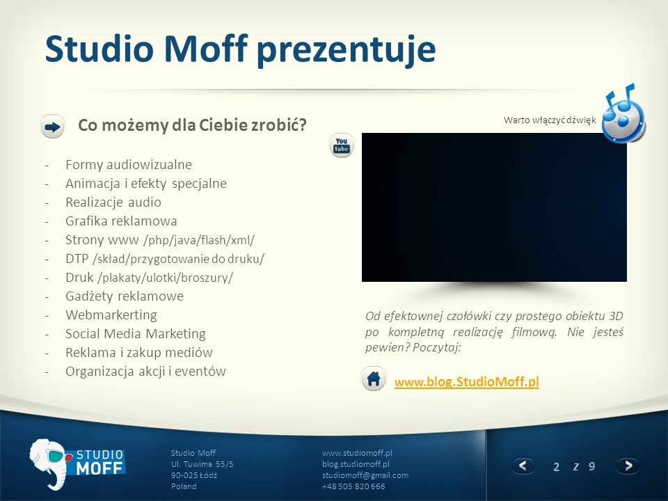 2 z 9 www.studiomoff.pl blog.studiomoff.pl studiomoff@gmail.com +48 505 820 666 Studio Moff Ul. Tuwima 55/5 90-025 Łódź Poland Studio Moff prezentuje
