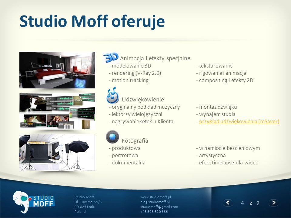 4 z 9 www.studiomoff.pl blog.studiomoff.pl studiomoff@gmail.com +48 505 820 666 Studio Moff Ul. Tuwima 55/5 90-025 Łódź Poland Studio Moff oferuje Ani