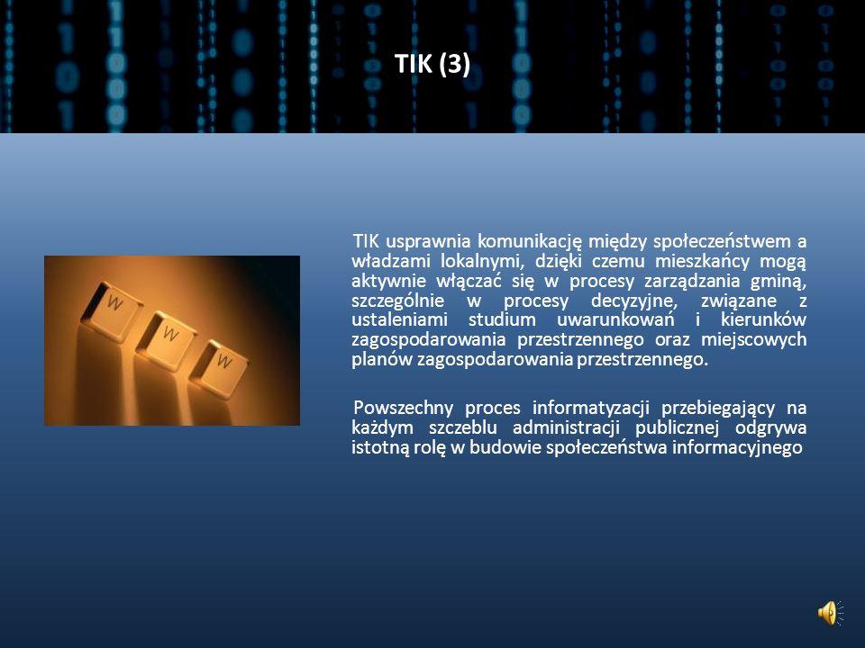 TIK (2) Zalety technologii informacyjnych i komunikacyjnych: ułatwiają dostęp do informacji i zwiększają przejrzystość działań, pozwalają obniżyć koszty komunikacji, umożliwiają zaoszczędzenie czasu przez np.: zwiększenie szybkości prezentowania i uzyskiwania danych; umożliwiają kontakt interaktywny; umożliwiają szybką aktualizację informacji.