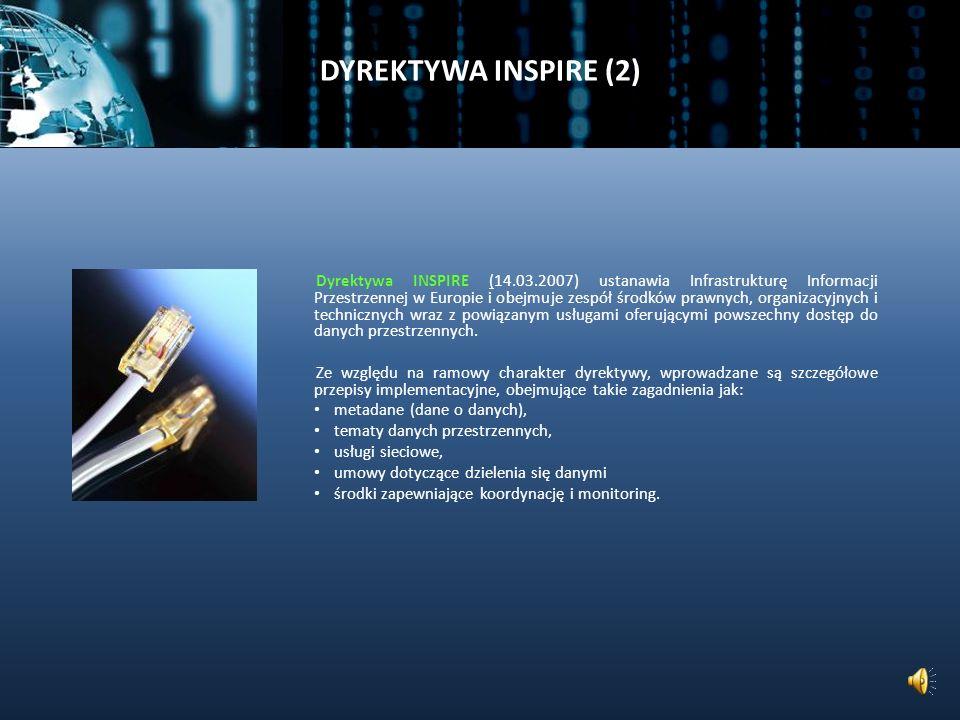 DYREKTYWA INSPIRE (1) INSPIRE (Infrastructure for Spatial Information in Europe – Infrastruktura Informacji Przestrzennej w Europie) Infrastruktura danych przestrzennych (ang.