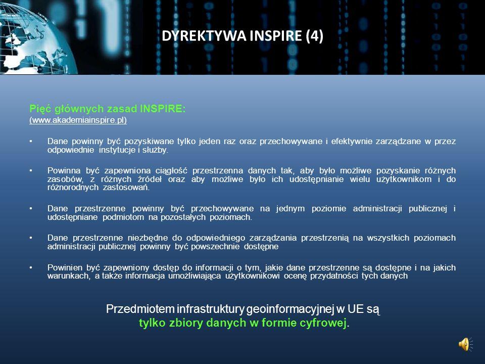 DYREKTYWA INSPIRE (3) Infrastruktura informacji przestrzennej obejmuje: metadane, zbiory danych przestrzennych oraz usługi danych przestrzennych; usługi i technologie sieciowe; porozumienia w sprawie wspólnego korzystania, dostępu i użytkowania oraz mechanizmy kontroli i monitorowania, procesy i procedury ustanowione, stosowane lub udostępniane zgodnie z dyrektywą INSPIRE.