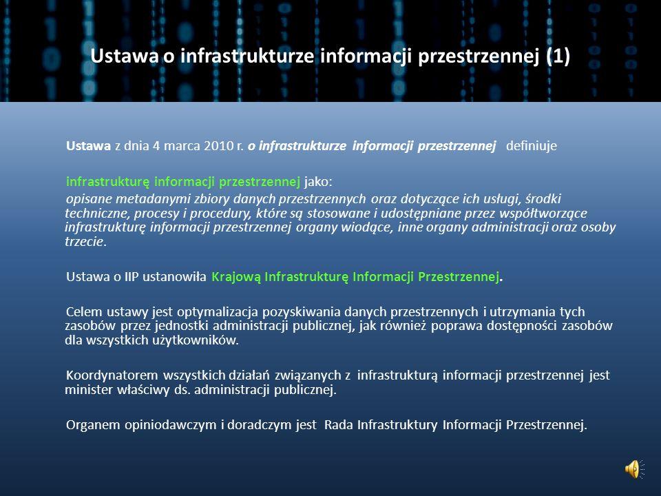 DYREKTYWA INSPIRE (5) Dyrektywa INSPIRE zakłada: usprawnienie i zwiększenie dostępu do zasobów danych przestrzennych, wzmocnienie współpracy między europejskimi instytucjami, które bazują na wymianie i analizach danych przestrzennych.