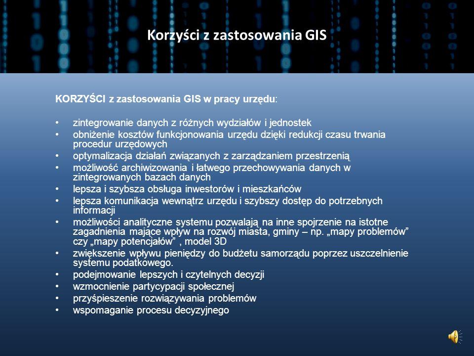 Zastosowania GIS GIS można wykorzystać w gminie do (UNEP/GRID-Warszawa): opracowania cyfrowych wersji dokumentów planistycznych, do archiwizacji inwentaryzacji, np.: zabytków, pomników przyrody, stref i miejsc zagrożeń stworzenia geoportalu gminy opracowania aplikacji GIS usprawniającej współpracę poszczególnych wydziałów w urzędzie stworzenia SIG do zarządzania MPZP stworzenia interaktywnych map numerycznych pod kątem określonego zastosowania analiz wariantowych lokalizacji różnych inwestycji, także pod kątem potencjalnych konfliktów analiz przestrzennych jako narzędzia wspomagającego podejmowanie decyzji planistycznych, np.