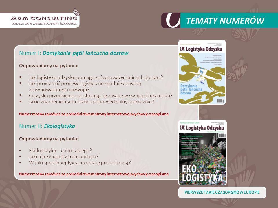 Numer I: Domykanie pętli łańcucha dostaw Odpowiadamy na pytania: Jak logistyka odzysku pomaga zrównoważyć łańcuch dostaw? Jak prowadzić procesy logist