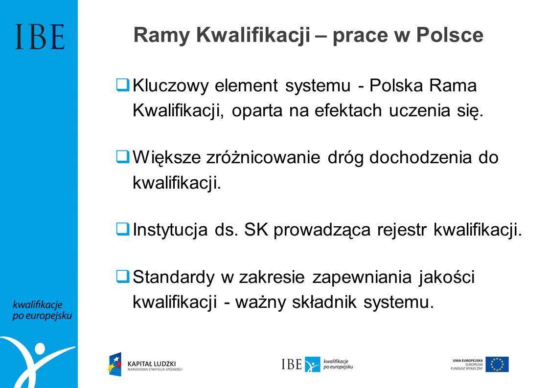 Kluczowy element systemu - Polska Rama Kwalifikacji, oparta na efektach uczenia się. Większe zróżnicowanie dróg dochodzenia do kwalifikacji. Instytucj
