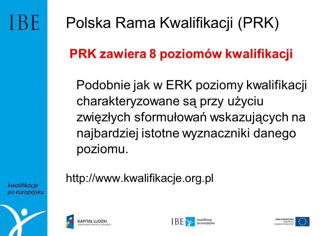 Polska Rama Kwalifikacji (PRK) PRK zawiera 8 poziomów kwalifikacji Podobnie jak w ERK poziomy kwalifikacji charakteryzowane są przy użyciu zwięzłych s