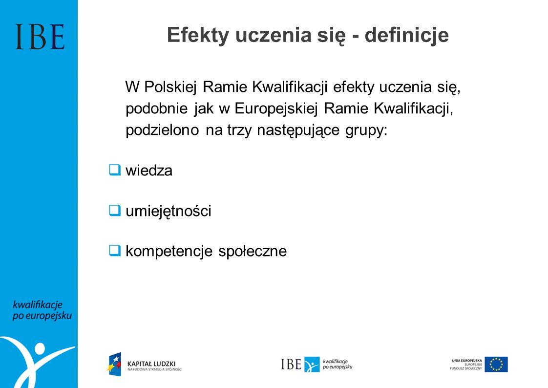 W Polskiej Ramie Kwalifikacji efekty uczenia się, podobnie jak w Europejskiej Ramie Kwalifikacji, podzielono na trzy następujące grupy: wiedza umiejęt