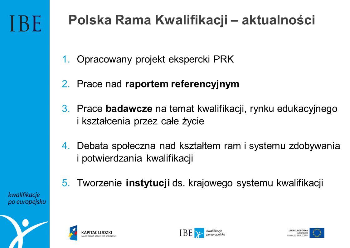 Polska Rama Kwalifikacji – aktualności 1.Opracowany projekt ekspercki PRK 2.Prace nad raportem referencyjnym 3.Prace badawcze na temat kwalifikacji, r