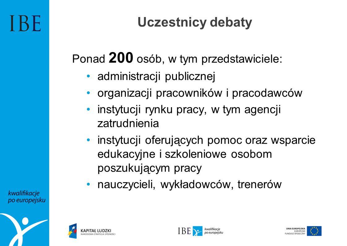 Uczestnicy debaty Ponad 200 osób, w tym przedstawiciele: administracji publicznej organizacji pracowników i pracodawców instytucji rynku pracy, w tym