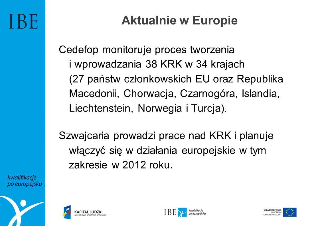 Aktualnie w Europie Cedefop monitoruje proces tworzenia i wprowadzania 38 KRK w 34 krajach (27 państw członkowskich EU oraz Republika Macedonii, Chorw