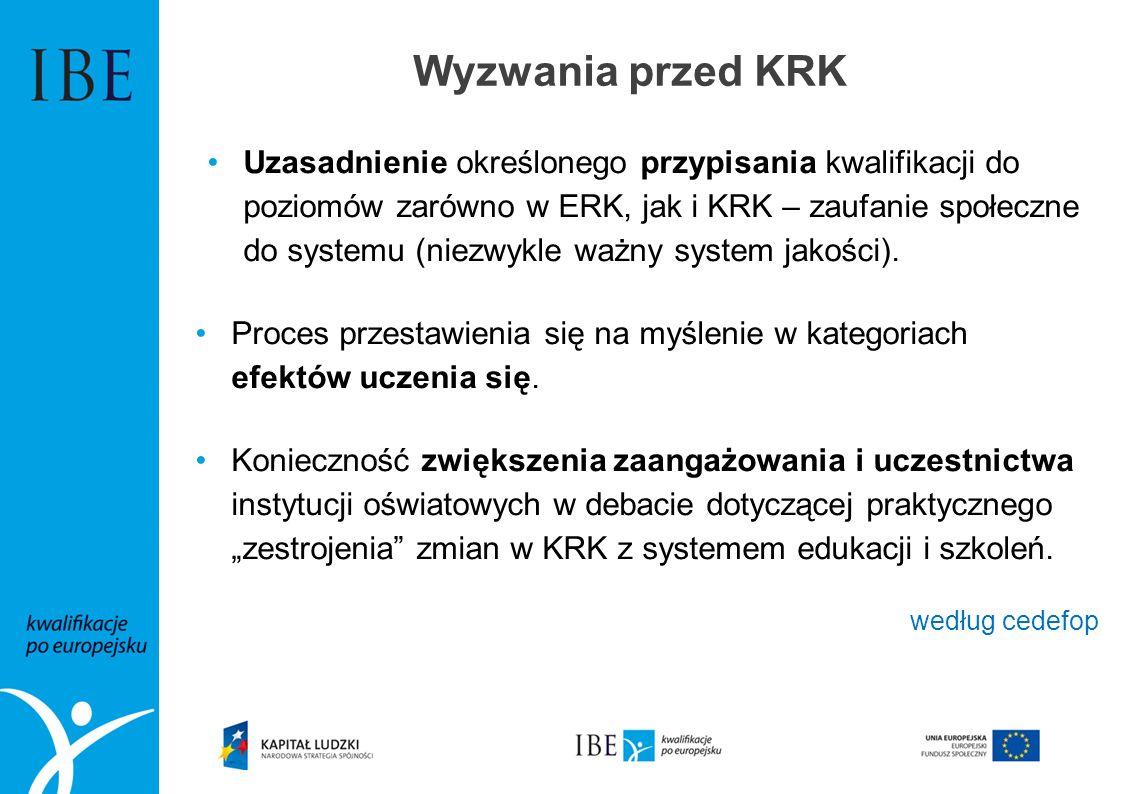 Wyzwania przed KRK Uzasadnienie określonego przypisania kwalifikacji do poziomów zarówno w ERK, jak i KRK – zaufanie społeczne do systemu (niezwykle w